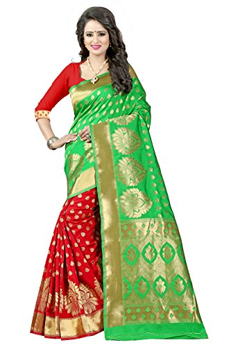 Traditional Ethnic Tassar Silk Banarasi Sarees With Unstitched Blouse Design, Green And...