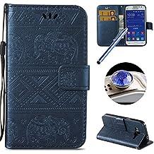 Etsue - Funda para Samsung Galaxy Core Prime G360 flip de piel, estilo lujoso, pintado, en color, modelo cartera, con soporte tipo atril, con protección magnética caso, de cuero de alta calidad, protectora, con cordón, flexible, interior de suave silicona, fabricado en Cassa del Raccoglitore, en forma de libro, antideslizante, resistente a los arañazos + lápiz táctil azul y partículas brillantes, tapa antipolvo, color aleatorio Deep Blu/Elephant Samsung Galaxy Core Prime G360