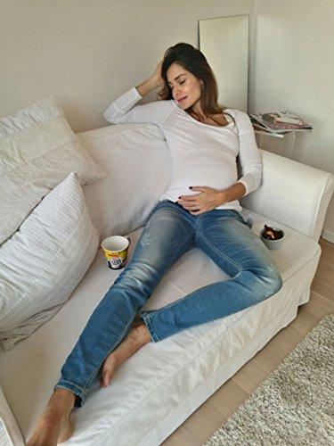 Christoff Schwangerschaftsjeans Umstandsjeans Five-Pocket-Jeans - Skinny mit Details im Used-Look - elastisches Bauchband - 63/91/8 - blau - Gr.38 -