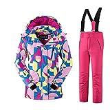 Mädchen Kinder Skianzug Skijacke Skihose Regenlatzhose Verdickung Lang Jacket Wintermantel Mantel Mantel (Rot, 122/128)