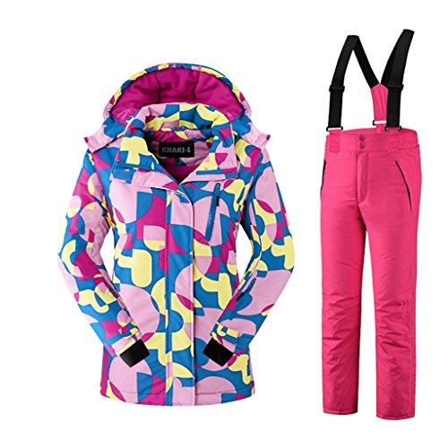 Mädchen Kinder Skianzug Skijacke Skihose Regenlatzhose Verdickung Lang Jacket Wintermantel Mantel Mantel (Rot, 110/116)