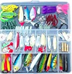 Quner Fishing Lures Spinners Plugs Spoons Soft Bait Pike Trout Salmon with Box Set, One Size, Multicolour