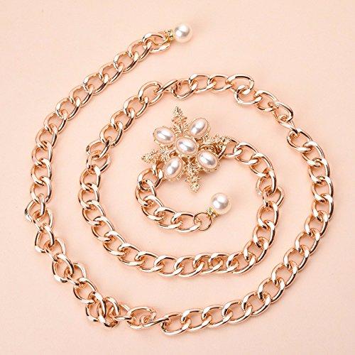 LIULICHENG Mode Metall Taille Kette Golden Damen Gürtel Perle Blumen Kette (Kleid öse Mädchen Blumen)