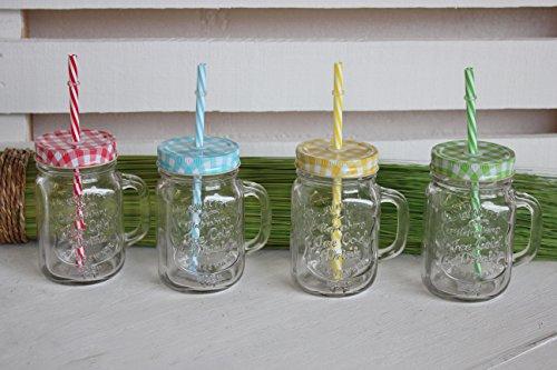 c-collection Gläser mit Deckel + Strohhalm kariert Trinkglas Glas bunt mit Henkel 350ml 4er Set Cocktailglas Bowleglas modern