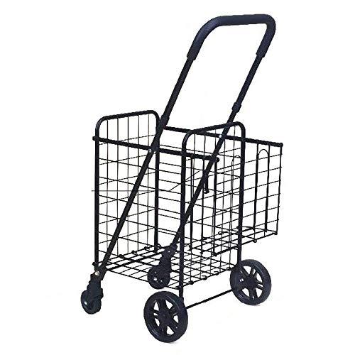 EAHKGmh Dauerhafte faltende einfache Rad-Einkaufslaufkatze des Speicher-Warenkorb-4, große Kapazität for Frauen-Mammasupermarkt-Reise-Strand-Lebensmittelgeschäft-Kampieren (Color : Black) -