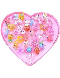 XY Fancy Fille bagues assortiment de filles cartoon bagues 36 pièces en plastique en forme de coeur en boîte et oeufs de pâques les créatifs cupcake toppers - sac cadeau