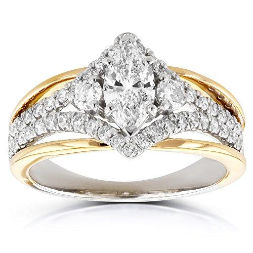 Deco Art-Anello di fidanzamento taglio Marquise con diamanti ct 1 (ctw) in 14 K Two-tone Gold, bianco e oro giallo, 25, cod. 62021M-E_11.0