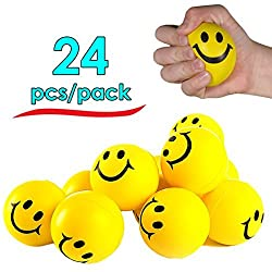 Stress Balls Happy Smile Face Stress Ball - Pack Of 24 - Neon Smile Face Relaxable Squeeze Balls In Yellow Color