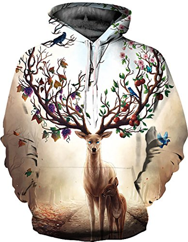 KamiraCoco Herren Kapuzenpullover 3D Druck Muster Hoodie Weihnachten Halloween Sweatshirt Pullover Gotthirsch