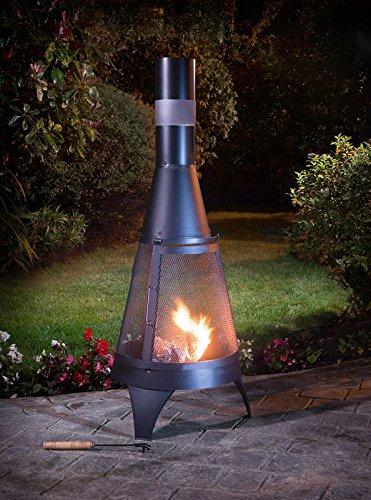 Deluxe Chiminea 120cm Black Garden Log Burner Complete With Poker 120cm x 45cm