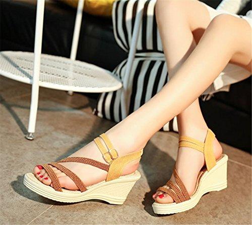 Wealsex keilabsatz sandalen damen Braun