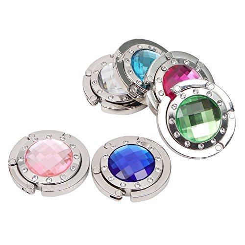 6 Metall Handtaschenhalter Taschen Haken im Kristall-Stil von Kurtzy - Hält 8 Kilo - Rote, Blaue, Grüne, Blaue, Weiße und Rosa Farben - Haken für Handtasche, Schmuck, Halsketten und Mehr