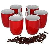 Van Well 6er Set Kaffeebecher Serie Vario Porzellan - Farbe wählbar, Farbe:rot