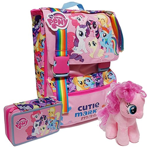 Zaino scuola sdoppiabile my little pony school pack + astuccio 3 zip + peluche rarity