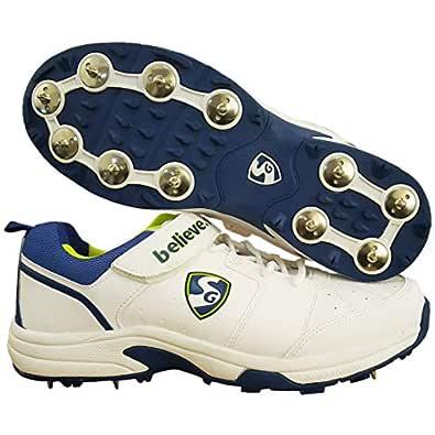SG Stroke 2.0 Full Metal Spikes Cricket Shoe, White/Lime/Royal Blue