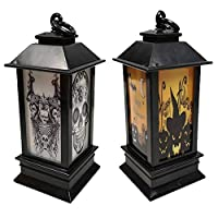 Suprcrne Halloween Lantern LED Night Light, DIY Pumpkin Pumpkin Mood Light Lanterns Bar Home Party Decoration Props (Pumpkin + Skull)