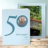 Fotoalbum zum 50 Geburtstag, Meine Fünfzig 28 Seiten, Hardcover 234x296 mm personalisierbar, Blau