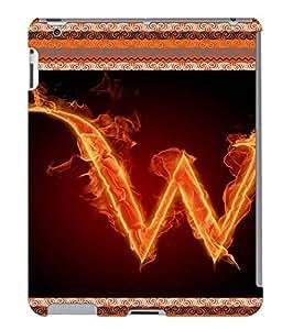 Fuson 3D Printed Alphabet W Designer back case cover for Apple iPad 4 - D4213
