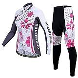 X-Labor Damen Radtrikot Set Fahrradbekleidung Fahrrad Langarm + Radhose mit Sitzpolster Herbst Winter Sportbekleidung