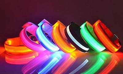 Pet Leso® Wasserdichte LED-Licht-Armband Sicher Walking/Laufen Flashing Schweißband, Nacht Radfahren Jogging Reflektierende Armband Einstellbar Visible Outdoor-Enthusiasten Beleuchtung Hip-Hop Performances Props, 6 Farben erhältlich