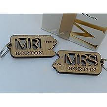 Juego de llaveros personalizados para boda, aniversario, parejas, diseño de Mr & Mrs, madera de roble