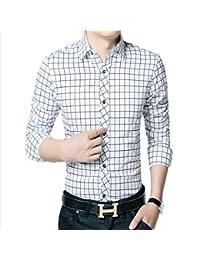 Dunland Camisa de Vestir de Corte Slim Informal de Hombre Enrejado de 100% Algodón Cuello