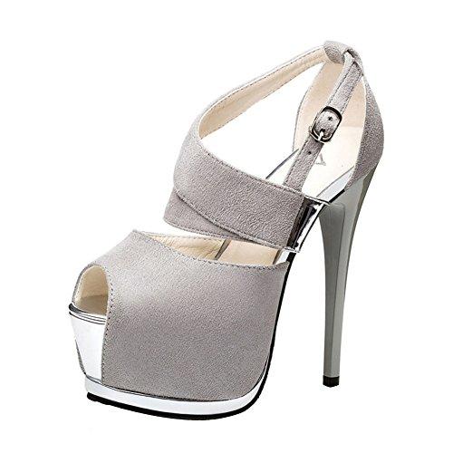 Wealsex stiletto high heels damen sandalen plateau Grau
