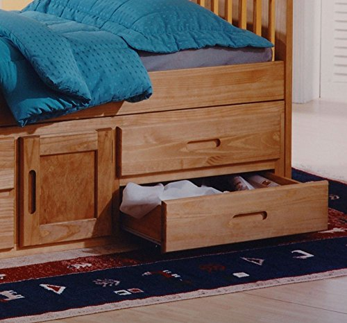 Happy Beds Captains Wooden Waxed Pine Storage Bed Drawers Cupboard Bedroom Furniture with Deluxe Memory Foam Mattress 3' Single 90 x 190 cm