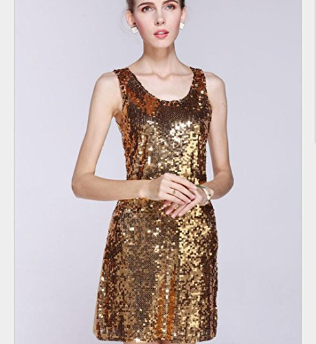 Wgwioo Pailletten Ärmelloses Latin Dance Dress Kleid Für Damen , Gold , F (Netto-short-partei-kleid)