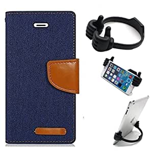 Aart Fancy Wallet Dairy Jeans Flip Case Cover for OnePlusOnePlus2 (NavyBlue) + Flexible Portable Mount Cradle Thumb OK Designed Stand Holder By Aart Store.