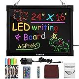 AGPtek 60 cm × 40 cm LED Schreibtafel beleuchtete löschbare Leuchttafel Zeichentafel mit...
