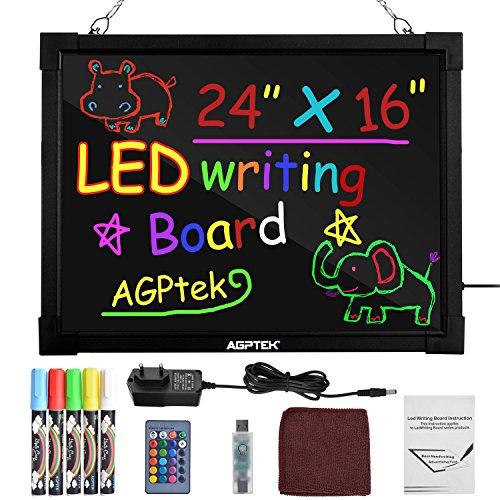 """Pizarrón LED para Mensajes AGPtek de 24""""× 16"""", Pizarrón para Escribir y Dibujar Borrable Iluminado con Control Remoto, Ideal para Festivales, Eventos, Aparadores y Promociones"""
