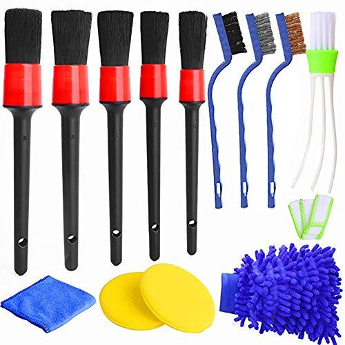 Queta 13pc Auto Detailing Brush Set Car Cleaner Brush Soften und festen Mischfaser des Reinigungsbrush Autopflege Radbürste perfekt für Auto Motorrad oder andere Fahrzeug Auto Reinigungswerkzeug
