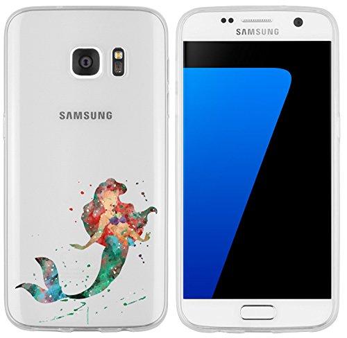 Samsung Galaxy S7 Hülle von licaso® für das Galaxy S7 aus TPU Silikon Meerjungfrau Aquarell...