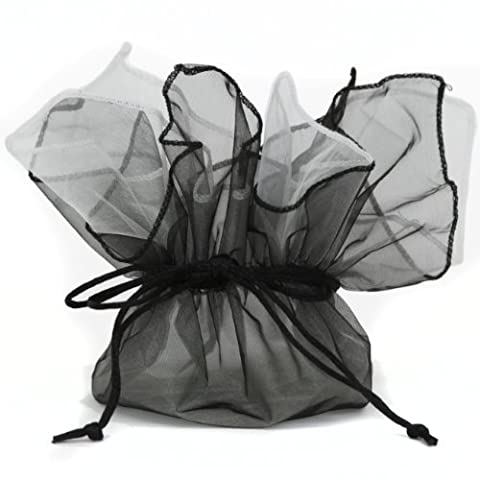 10 Designer Organza Fabric Gift Bags Pouches Party Favor Gifts Packaging Black White by Bucasi