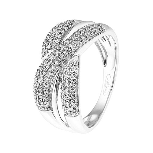 And You - & You - Bague d'anniversaire de mariage entrelacée Femme - 9_k_(375) Or blanc Diamant Ronde Taille 56 - AMZ-9RG 23020-B/56
