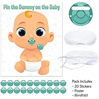 Baby Shower Game - Pin The Dummy - Includes 20 Stickers, Large Poster and Luxury Blindfold