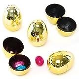 Uova in 2 parti dorate per feste per bambini da riempire con dolci per caccia alle uova di Pasqua (confezione da 10)
