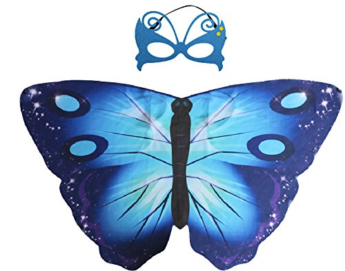 Special ABC Party Blau Schmetterlings-Flügel Kindes Umhang & (Abc Partei Kostüm)