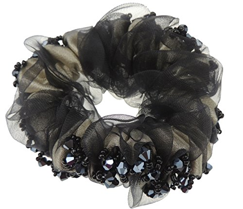 Ladies Girls Chiffon Beaded Scrunchie Hair Elastic Tie Grey Black by Glamour Girlz -