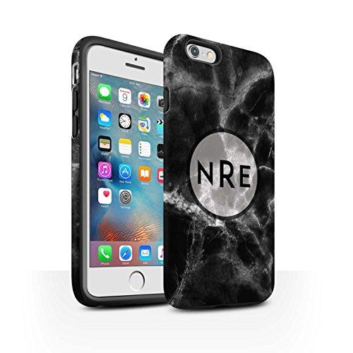 Personalisiert Individuell Marmor Matte Zähen Hülle für Apple iPhone 7 Plus / Mono Stempel Design / Initiale/Name/Text Stoßfest Schutzhülle/Case/Etui Mono Stempel