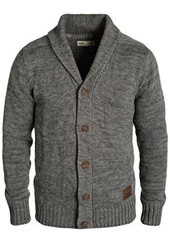 Baumwoll-strickjacke (SOLID Philip Herren Strickjacke Cardigan Grobstrick mit Schalkragen aus 100% Baumwolle Meliert, Größe:3XL, Farbe:Dark Grey (2890))