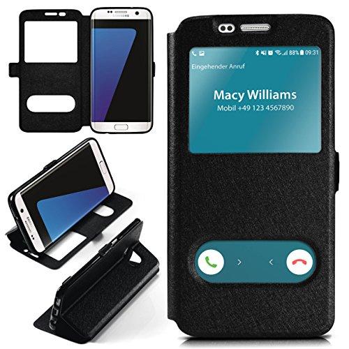 Samsung Galaxy S7 Edge Hülle mit Sicht-Fenster Schwarz [OneFlow Comfort Cover] Stand-Funktion Schutzhülle Ultra-Slim Handyhülle für Samsung Galaxy S7 Edge Case Flip Handy-Tasche