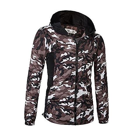 Haroty Homme Jacket Camouflage Hoodie Veste à Capuche Treillis Militaire Casual Manches Longues Manteau Tailles M-XXXL (L, Camouflage