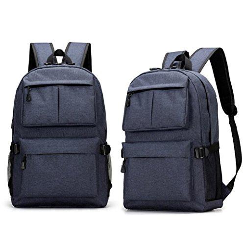 mochilas hombre deportivas para Portátil, Mochila impermeable Backpack Daypack Multiusos con puerto de carga USB, escuchando música Mochilas Escolares Juveniles Casual para hombres y mujeres (azul)