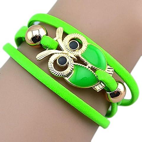Kolylong Women's Lovely Owl Friendship Multilayer Charm Leather Bracelets Gift (Green)