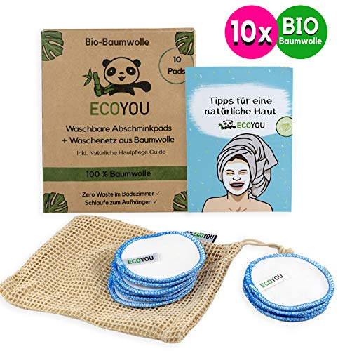 EcoYou Abschminkpads waschbar BIO-Baumwolle [10x] Inkl. Wäschenetz aus Baumwolle ♻ Nachhaltige ZERO WASTE Wattepads wiederverwendbar ♻ Bonus: Gesichtspflege Guide + DIY Rezepte