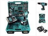 Makita DHP 453 SFTK Akku Schlagbohrschrauber 18V 42Nm + 1x Akku 3,0Ah + Schnellladegerät + 101-tlg. Zubehörset + Koffer