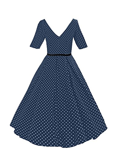 iLover robes swing rockabilly cru Retour V prom party 40s 50s 60s robe de danse NavyDots