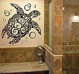Njuxcnhg Abnehmbare Meeresschildkröte Wandaufkleber Dekoration Bad Glas vinilos Adesivo Vinyl Turtle Tapete Waschraum Decor 58X60 cm